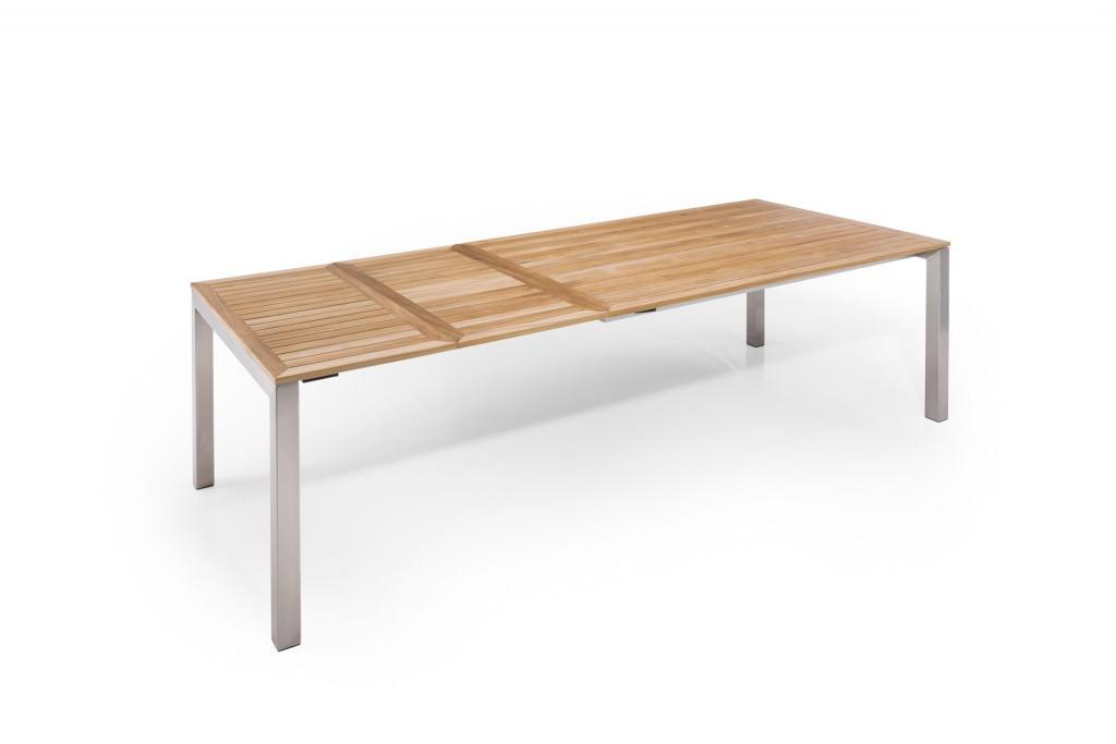 Ausziehbarer gartentisch kubus aus teak und edelstahl - Gartentisch ausziehbar metall ...